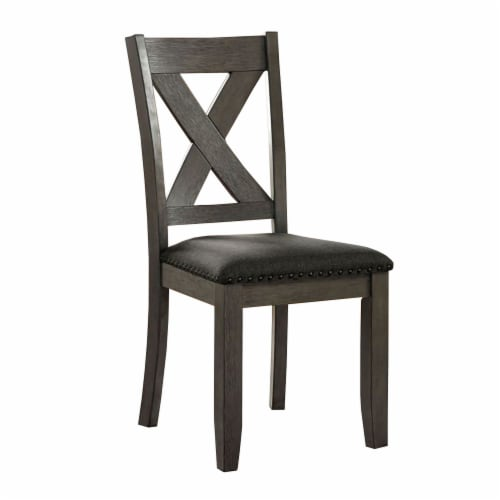 Side Chair with Padded Seating and X Backrest, Set of 2, Gray Perspective: front