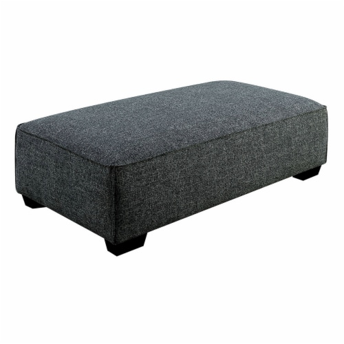 57 Inches Ottoman with Fabric Padded Seat and Welt Trim Details, Gray Perspective: front