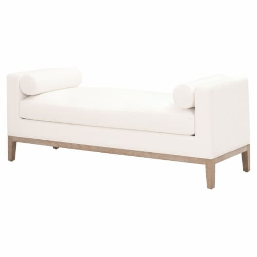 63 Inch Fabric Upholstered Bench with Track Armrests, Cream Perspective: front