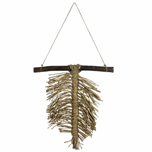 Wooden Wall Hanging with Seagrass Accent, Brown ,Saltoro Sherpi Perspective: front
