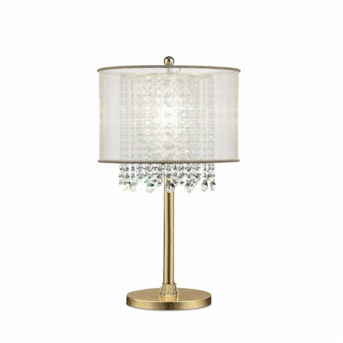 Saltoro Sherpi Table Lamp with Hanging Crystal Accents, White and Gold Perspective: front