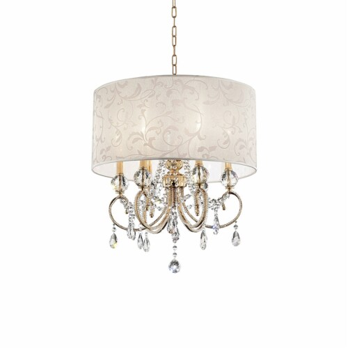 Ceiling Lamp with Crystal Accent and Baroque Style Shade, Gold Perspective: front