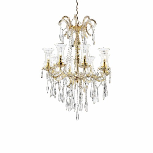 Chandelier with Crystal Accents and 8 Glass Hurricane, Gold Perspective: front