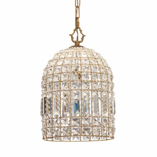 Pendant Chandelier with Dome Metal Frame and Crystal Accents, Gold ,Saltoro Sherpi Perspective: front