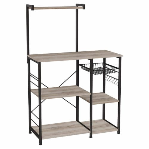 Bakers Rack with 4 Open Shelves and Wire Basket, Gray and Black Perspective: front