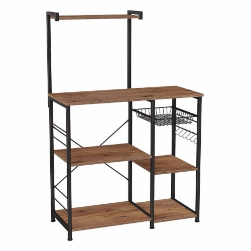 Bakers Rack with 4 Open Shelves and Wire Basket, Brown and Black Perspective: front
