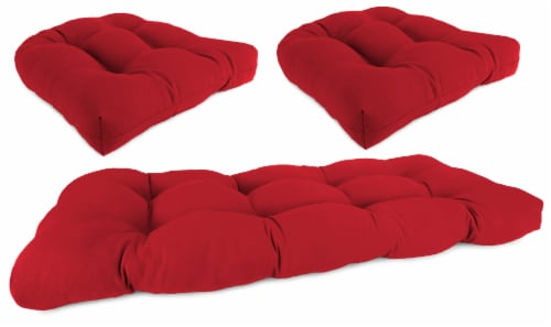 Jordan Manufacturing Wicker Settee Cushion Set - Veranda Red Perspective: front