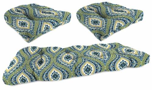 Jordan Manufacturing Wicker Settee Cushion Set - Jasmina Summer Perspective: front