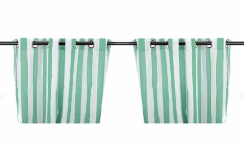 Jordan Manufacturing Spa Stripe Outdoor Curtain Panel Set - 2 Pack Perspective: front