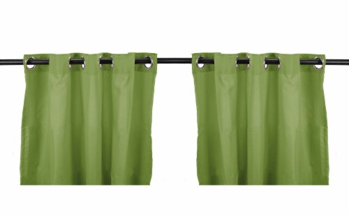 Jordan Manufacturing Solid Sage Outdoor Curtain Panel Set - 2 Pack Perspective: front