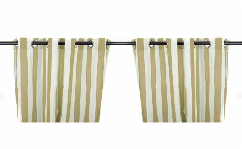 Jordan Manufacturing Outdoor Curtain Panel - 2 Pack - Khaki Stripe Perspective: front