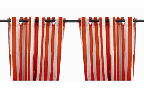 Jordan Manufacturing Outdoor Curtain Panel - 2 Pack - Rust Stripe Perspective: front
