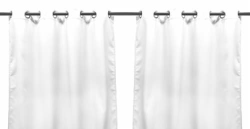 Jordan Manufacturing Outdoor Curtain Panel - 2 Pack - Solid White Perspective: front