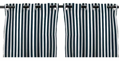 Jordan Manufacturing Navy Stripe Outdoor Curtain Panel Set - 2 Pack Perspective: front