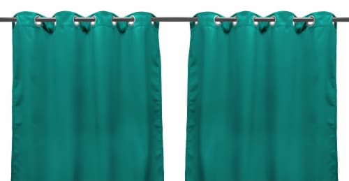Jordan Manufacturing Outdoor Curtain Panel - 2 Pack - Solid Teal Perspective: front