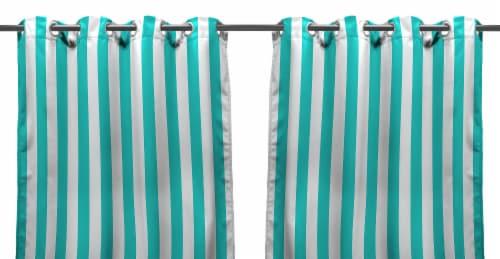 Jordan Manufacturing Outdoor Curtain Panel - 2 Pack - Ocean Stripe Perspective: front