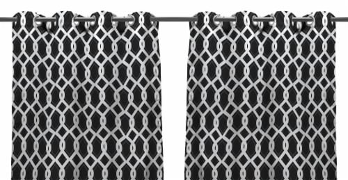 Jordan Manufacturing Outdoor Curtain Panel - 2 Pack - Cayo Black Perspective: front
