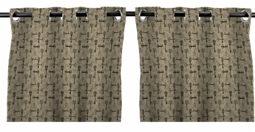 Jordan Manufacturing Tangerine Stripe Outdoor Curtain Panel Set - 2 Pack Perspective: front
