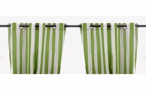 Jordan Manufacturing Sage Stripe Outdoor Curtain Panel Set - 2 Pack Perspective: front