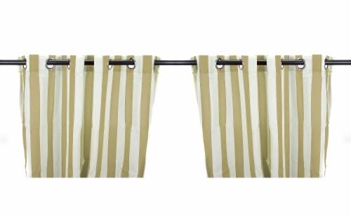 Jordan Manufacturing Khaki Stripe Outdoor Curtain Panel Set - 2 Pack Perspective: front