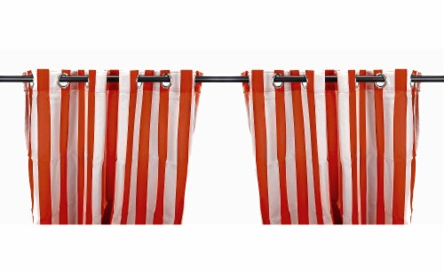 Jordan Manufacturing Rust Stripe Outdoor Curtain Panel Set - 2 Pack Perspective: front