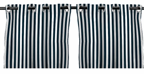 Jordan Manufacturing Outdoor Curtain Panel - 2 Pack - Navy Stripe Perspective: front