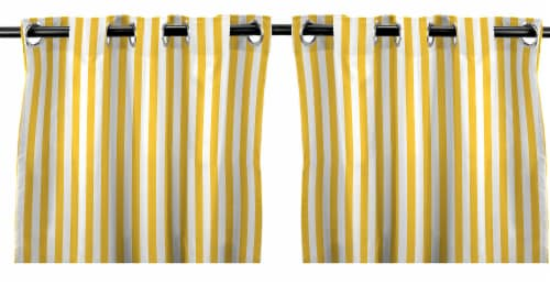 Jordan Manufacturing Outdoor Curtain Panel - 2 Pack - Canary Stripe Perspective: front
