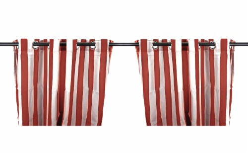 Jordan Manufacturing Outdoor Curtain Panel - 2 Pack - Pompeii Stripe Perspective: front