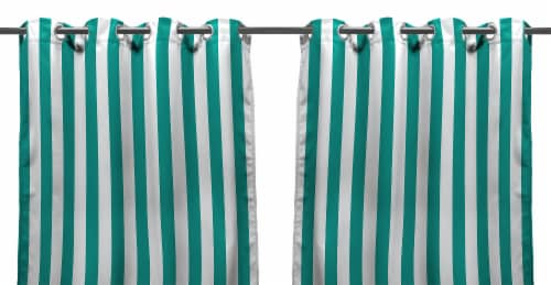 Jordan Manufacturing Stripe Outdoor Curtain Panel Set - 2 Pack - Teal Perspective: front