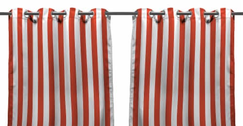 Jordan Manufacturing Outdoor Curtain Panel - 2 Pack - Melon Stripe Perspective: front