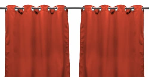 Jordan Manufacturing Solid Melon Outdoor Curtain Panel Set - 2 Pack Perspective: front