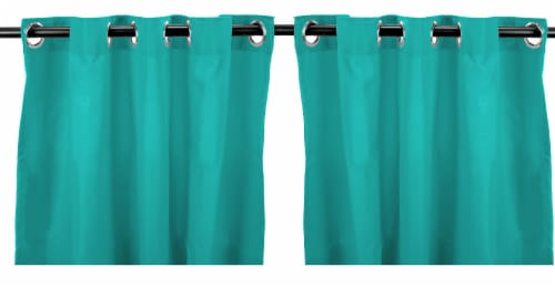 Jordan Manufacturing Solid Ocean Outdoor Curtain Panel Set - 2 Pack Perspective: front