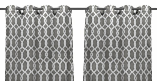Jordan Manufacturing Outdoor Curtain Panel - 2 Pack - Cayo Gray Perspective: front