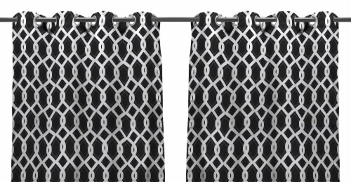 Jordan Manufacturing Outdoor Curtain Panels - 2 Pack - Cayo Black Perspective: front