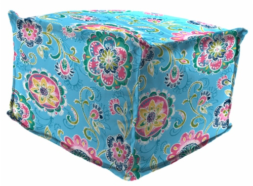 Jordan Manufacturing Fanfare Island Outdoor Square Bead Filled Pouf/Ottoman Perspective: front