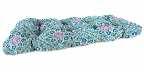 Jordan Manufacturing Medlo Island Outdoor Knife Edge Wicker Loveseat Cushion Perspective: front