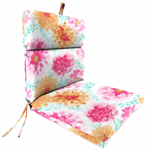 Jordan Manufacturing Gardenia Bloom Outdoor French Edge Dining Chair Cushion Perspective: front