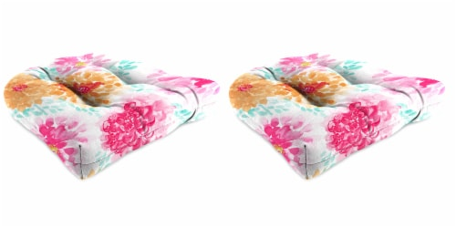 Jordan Manufacturing Gardenia Bloom Outdoor Wicker Chair Cushions - 2 Pack Perspective: front