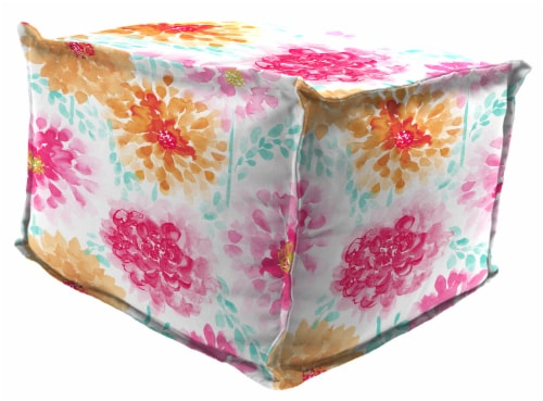 Jordan Manufacturing Gardenia Bloom Square Outdoor Bead Filled Pouf/Ottoman Perspective: front