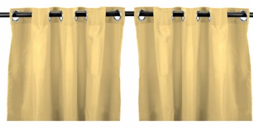 Jordan Manufacturing Outdoor Curtain Panel - 2 Pack - Solid Canary Perspective: front