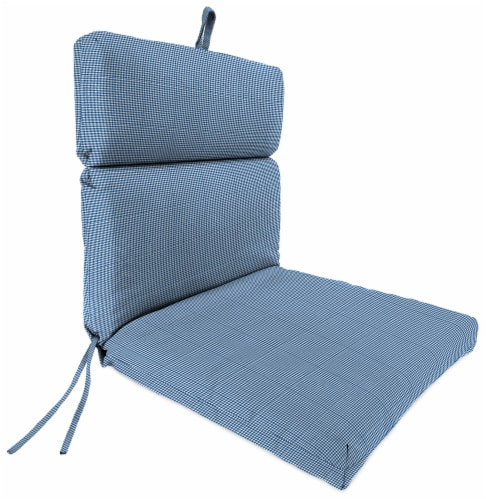 Jordan Manufacturing Dawson Lapis Outdoor French Edge Dining Chair Cushion Perspective: front