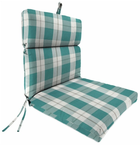 Jordan Manufacturing Branson Stripe Opal Outdoor French Edge Dining Chair Cushion Perspective: front