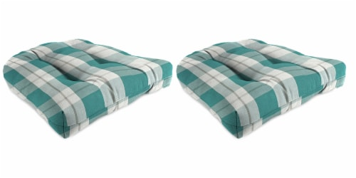 Jordan Manufacturing Branson Stripe Opal Outdoor Wicker Chair Cushions - 2 Pack Perspective: front
