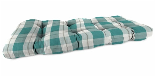 Jordan Manufacturing Branson Stripe Opal Outdoor Wicker Loveseat Cushion Perspective: front