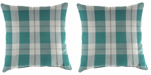 Jordan Manufacturing Outdoor Throw Pillows - 2 Pack - Branson Stripe Opal Perspective: front