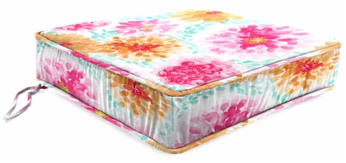 Jordan Manufacturing Gardenia Bloom Outdoor Boxed Edge Deep Seat Cushion Perspective: front