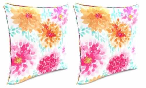 Jordan Manufacturing Gardenia Bloom Outdoor Accessory Throw Pillows with Welt - 2 Pack Perspective: front