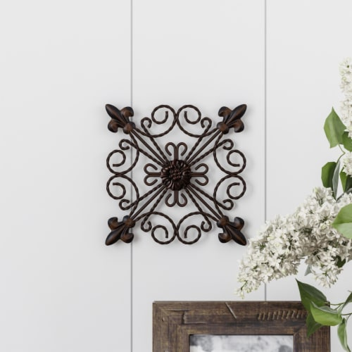 Medallion Metal Wall Art  8 Inch Square Metal Home Decor, Hand Crafted with Distressed Finish Perspective: front