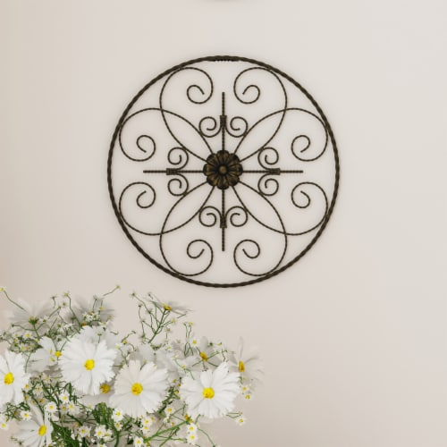 Medallion Metal Wall Art- 14 Inch Round Metal  Hand Crafted with Distressed Finish Perspective: front