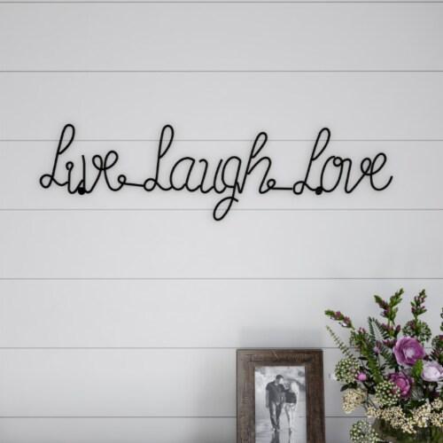 Metal Cutout- Live Laugh Love Cursive Cutout Sign-3D Word Art Home Accent Decor Perspective: front